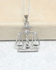 14 kt White Gold Scales Necklace 14 Kt Scales of Justice