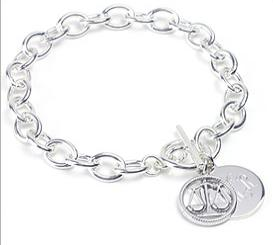 Sterling Silver Chain Toggle Bracelet 8 in.