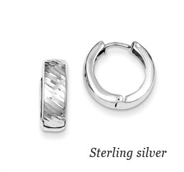 Sterling Silver Huggie Textured Earrings huggie earrings, sterling silver textured huggie earrings