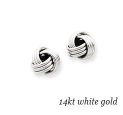 14kt White Gold Plain Knot Earrings
