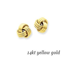14kt Yellow Gold Plain Knot Earrings