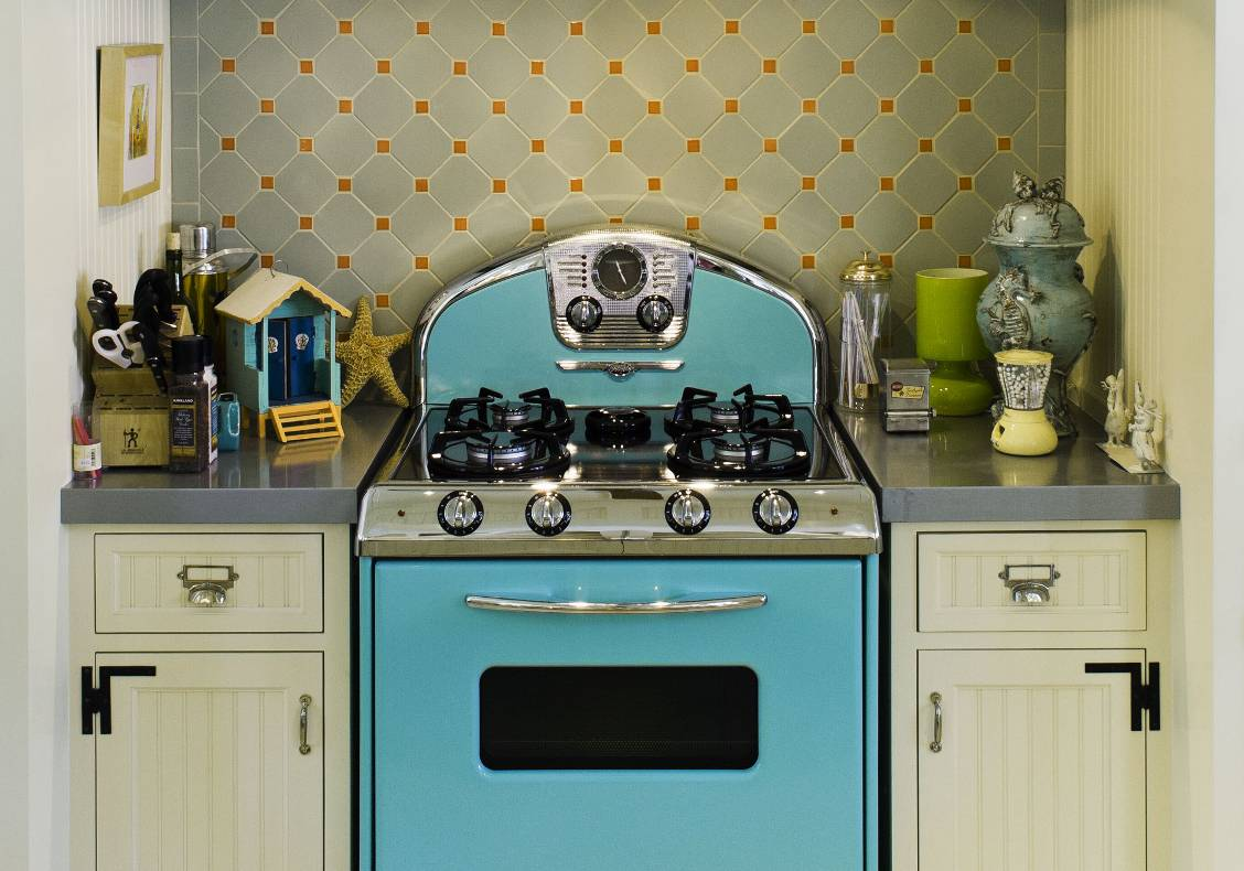Retro aqua blue kitchen stove.