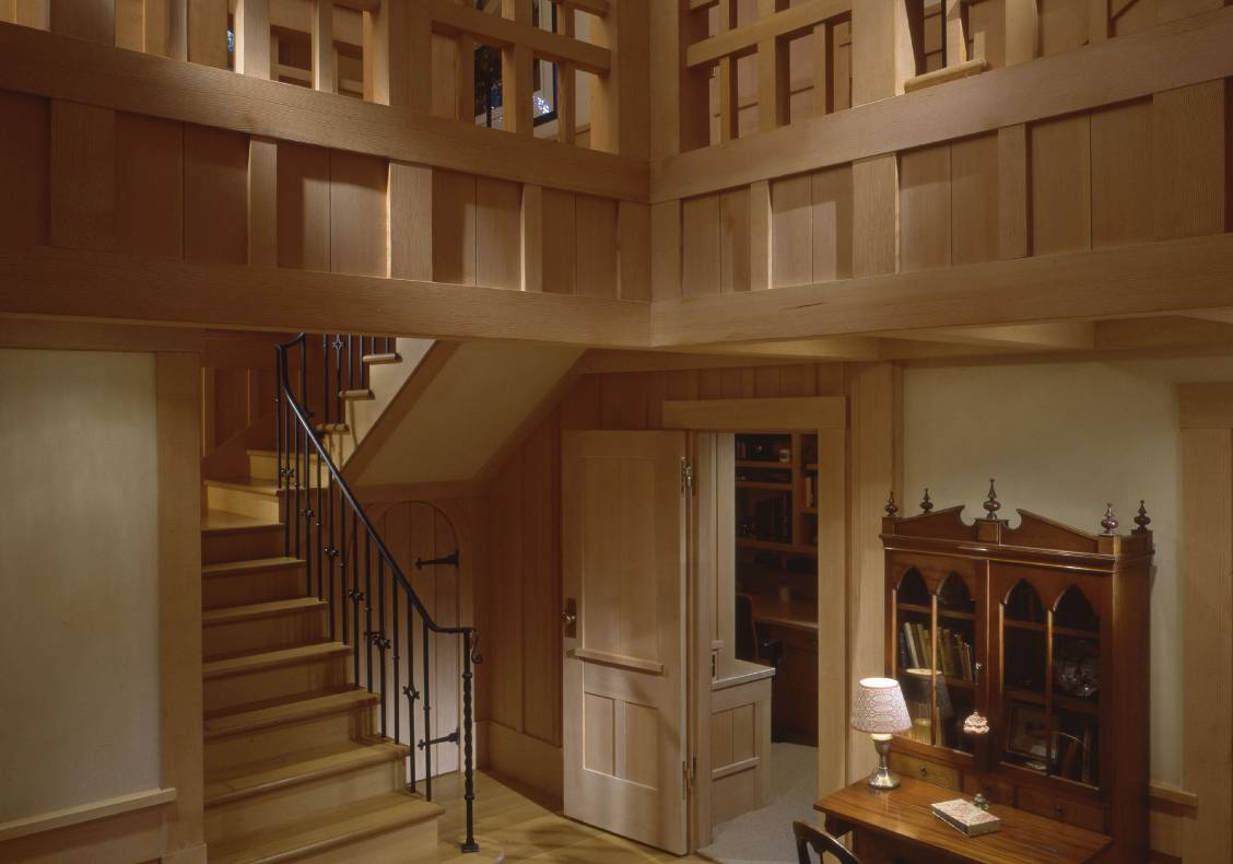 Traditional Japanese cabinetry-inspired latticework in the interior balcony.