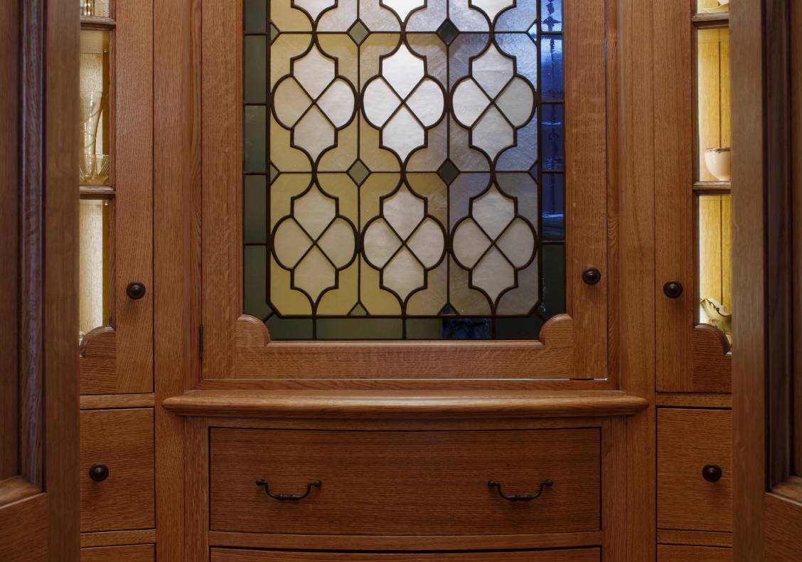 Art glass window in the butler's pantry