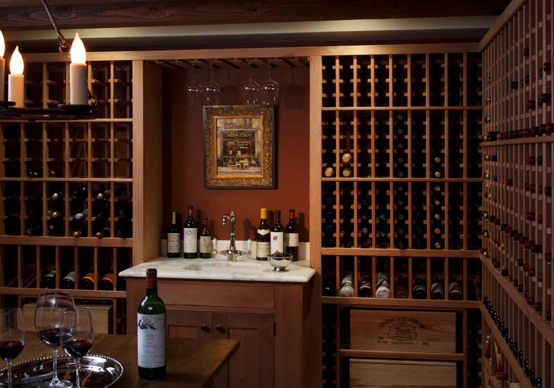 Redwood wine rack in the wine cellar.