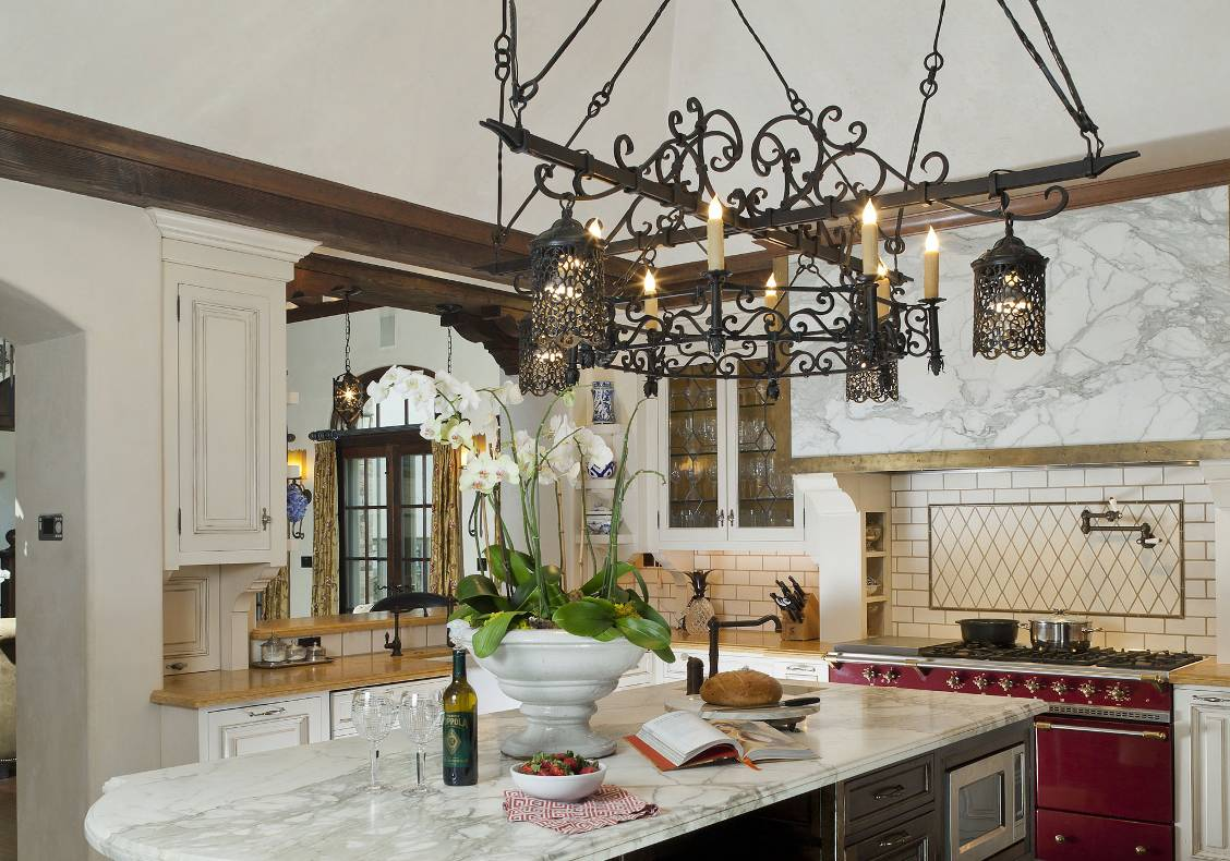 Carrara Calacatta marble top kitchen island.