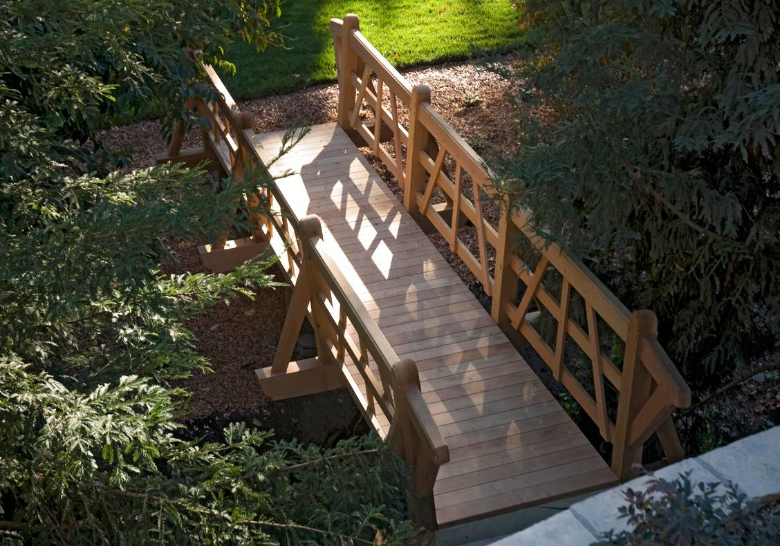An artfully crafted wooden bridge