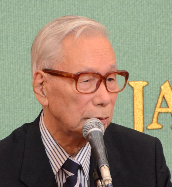 安保法制緊急会見 山崎拓氏、亀...