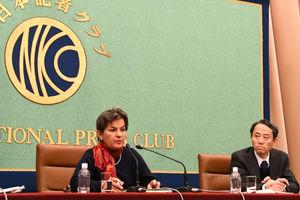 クリスティアナ・フィゲレス前国連気候変動枠組条約事務局長 会見 写真 3