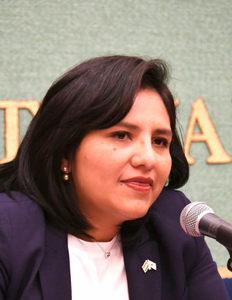 ラウル・フロレンティン=アントラ駐日パラグアイ大使、アンヘラ・アイリョン駐日ボリビア臨時代理大使 会見 写真 2