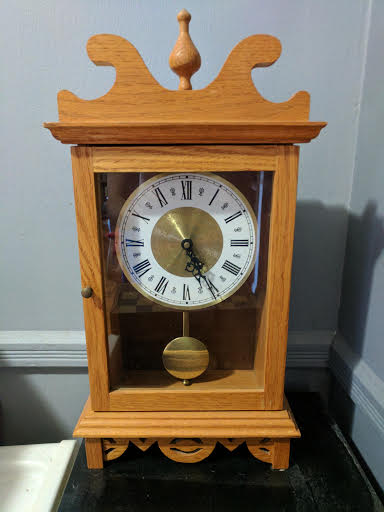 Yes, this is a clock that I built in HS woodshop. I'm very proud of it!