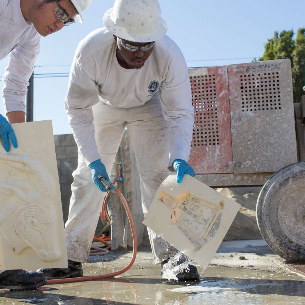 Advanced cement masonry job corps job corps students cleaning cement molds dailygadgetfo Gallery