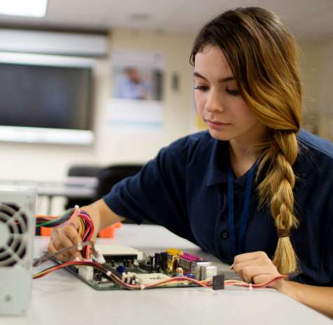 Job Corps student working on a computer
