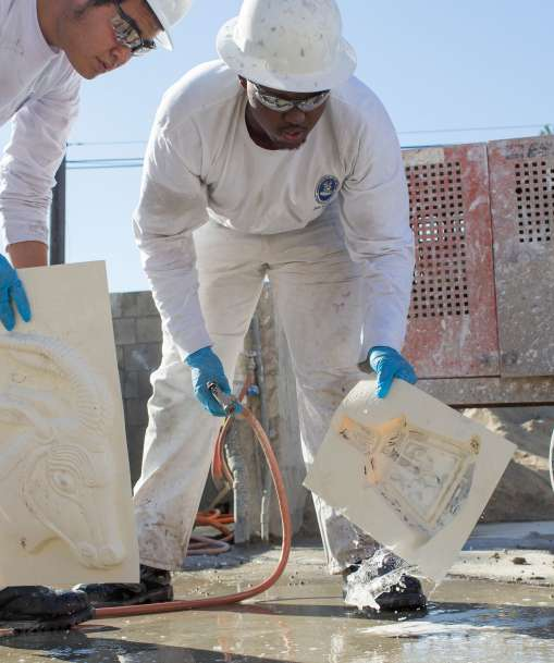 Job Corps Students Cleaning Cement Molds
