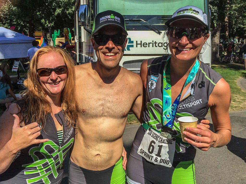 Joe, Milica, Steph at Coeur d'Alene Triathlon
