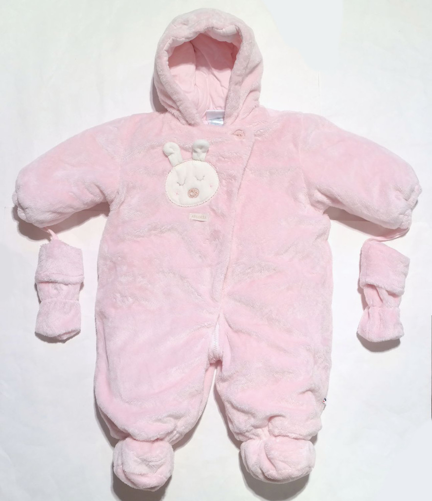 6311537b8bfc NEW Absorba Girls 9 Months Pink Plush Snowsuit Hooded Bunting Bunny ...