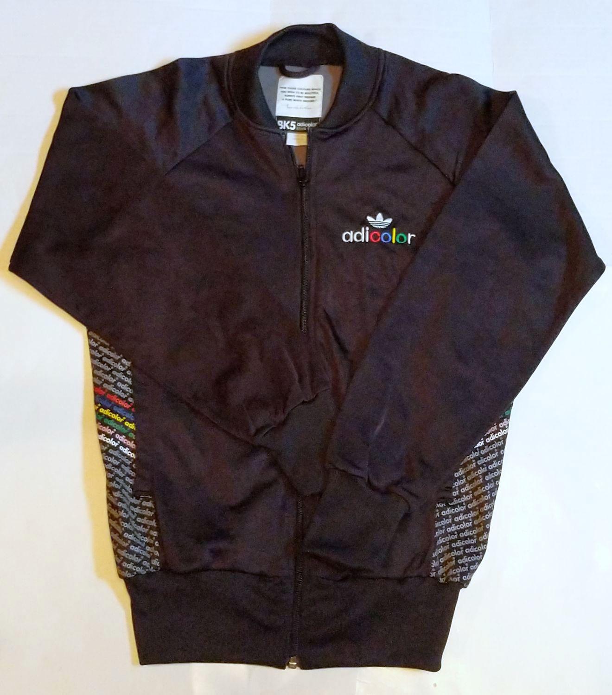 01491592e504 Adidas Adicolor Bk5 Jacket Size XS Black Multi Color Da Vinci Zip Warm-up  Retro