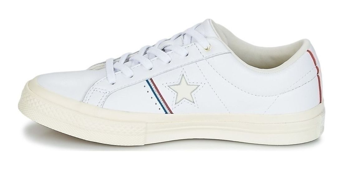 6b4f0627a8d2 Converse One Star OX Low Top Leather Sneaker 159694C White-Enamel Red-Egret  4
