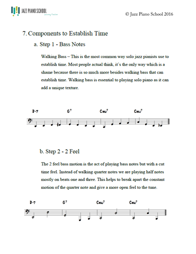 Lesson 7 Solo Piano - Components to Establish Time - Jazz