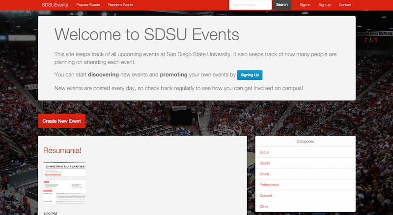 Screenshot of SDSUEvents