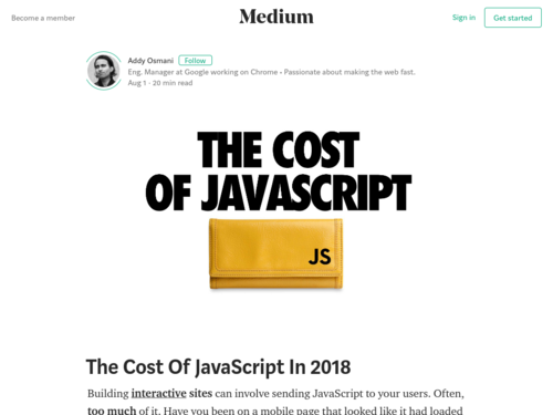 Image for: The Cost of JavaScript in 2018