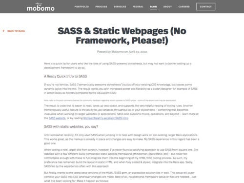Image for: SASS & Static Webpages (No Framework, Please!)