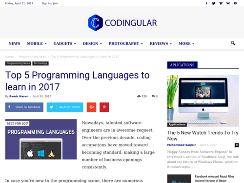 Image for: Top 5 Programming Languages to Learn 2017