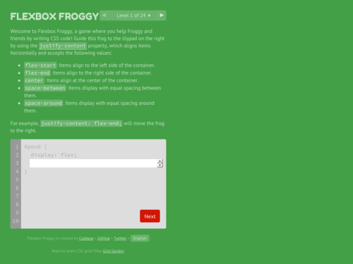 Image for: Flexbox Froggy - Learn CSS Flexbox