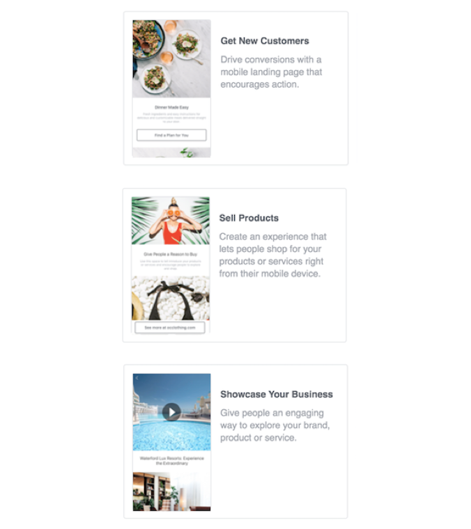 facebook canvas ad templates 3 options