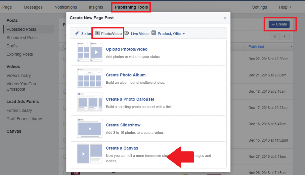 how to create facebook canvas ad