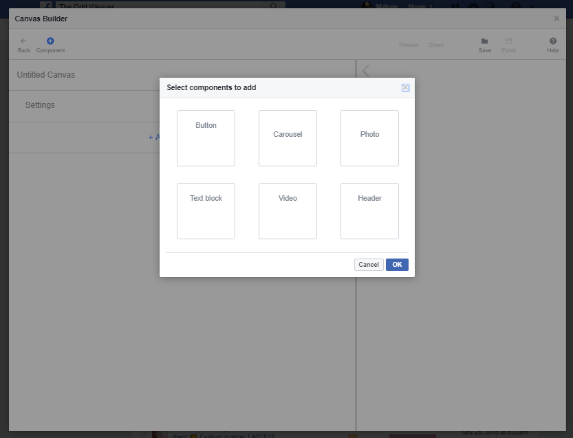 facebook canvas builder