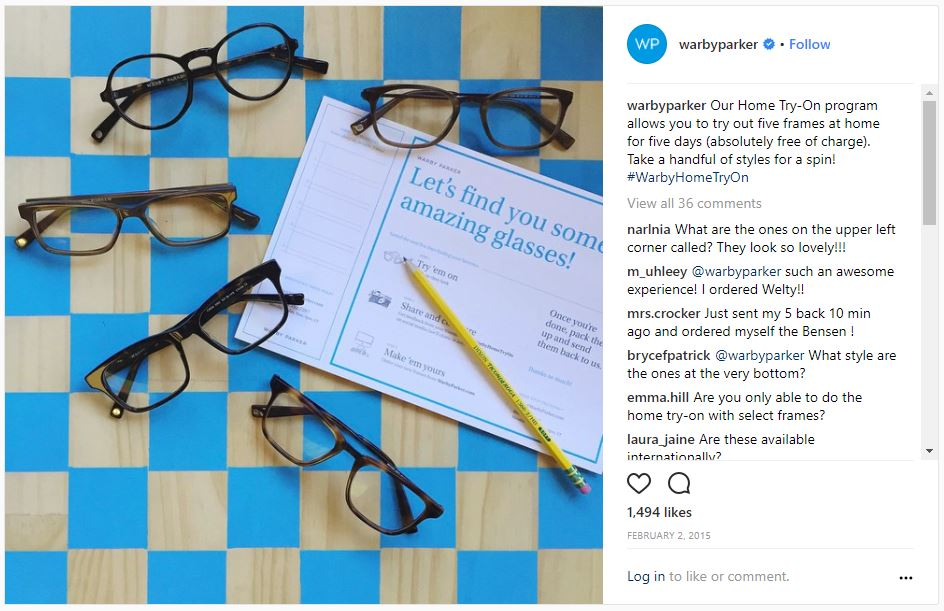 5 frames as part of Home try-on marketing campaign by Warby Parker
