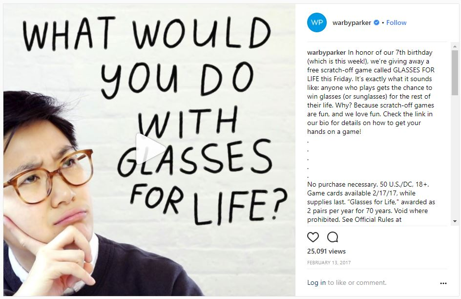 Glasses for Life Instagram promotion