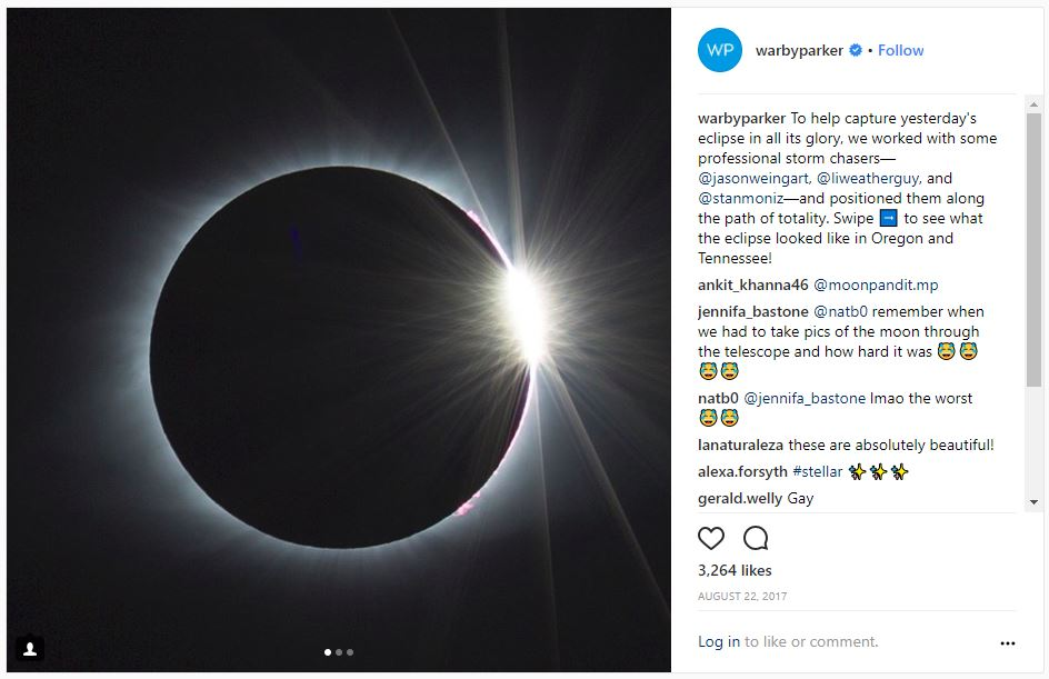 Solar Eclipse on Warby Parker's Instagram Feed