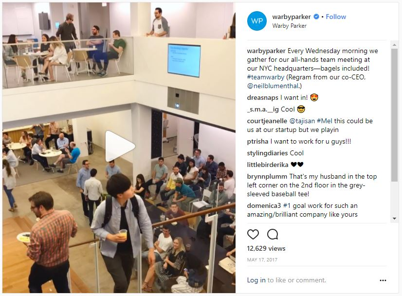 Staff at Warby Parker working timelapse video