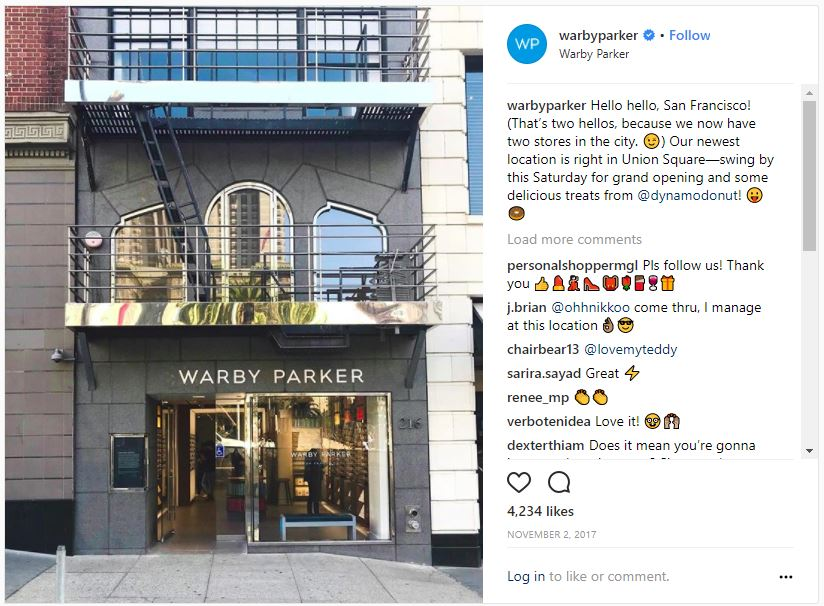 Warby Parker Store Front