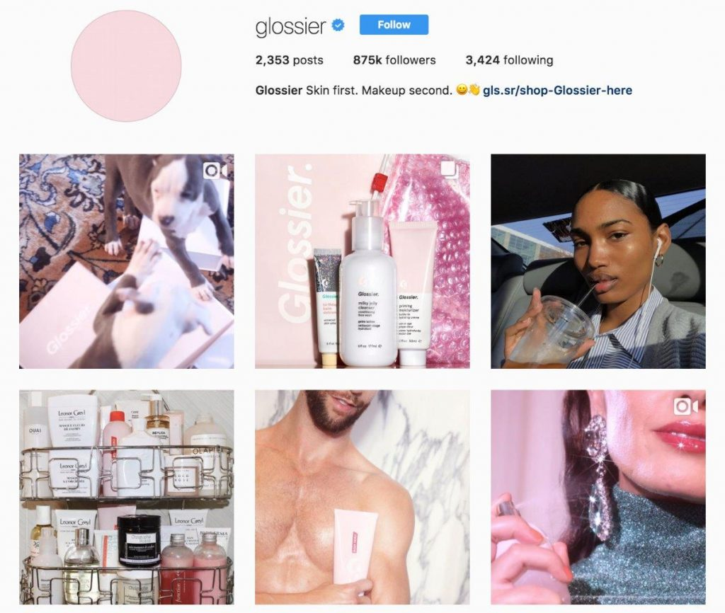 Glossier's Instagram feed