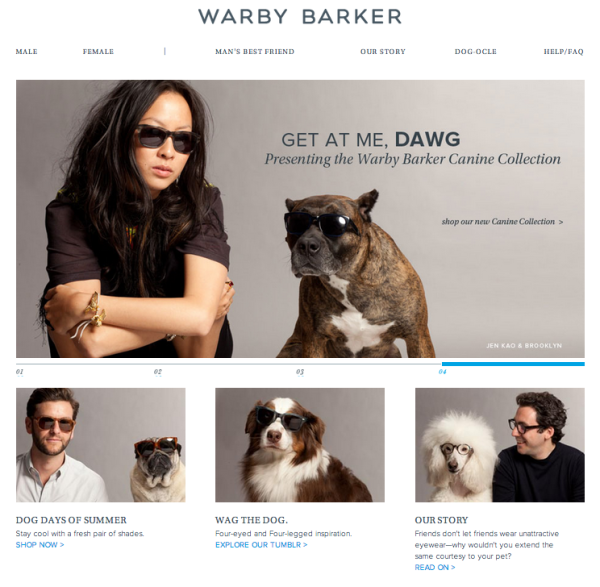 Warby Parker website screenshot