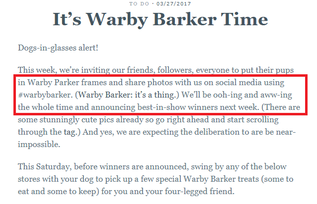 Warby Parker launching Warby Barker campaign