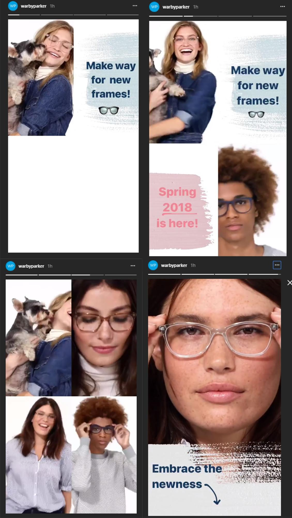 Warby Parker screenshot of videos
