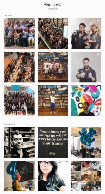 Warby Parker Instagram feed by employees
