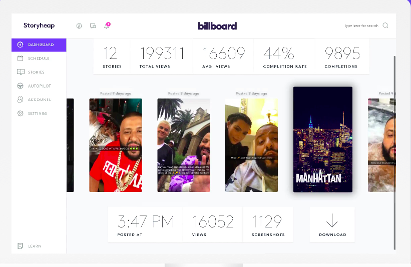 Storyheap app for managing Instagram and Snapchat stories