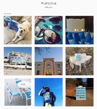 Warby Parker Instagram feed featuring their color scheme