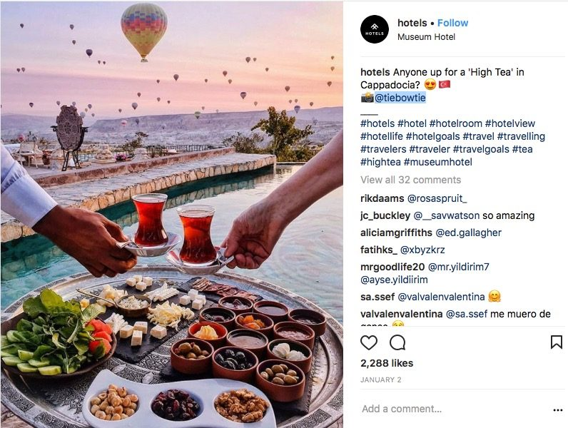 social media strategy for hotels | Instagram post by Museum Hotel, Turkey