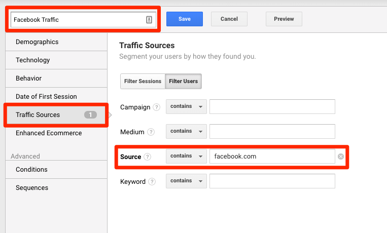 Google Analytics - Social Segment