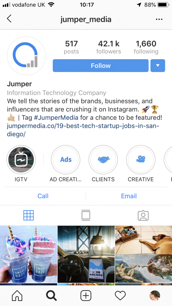Jumper Media Instagram Highlights
