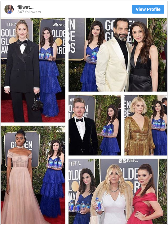 Fiji Water Girl Photobombing at Golden Globes