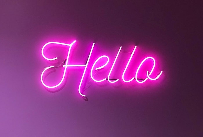 Pink Neon Hello Sign