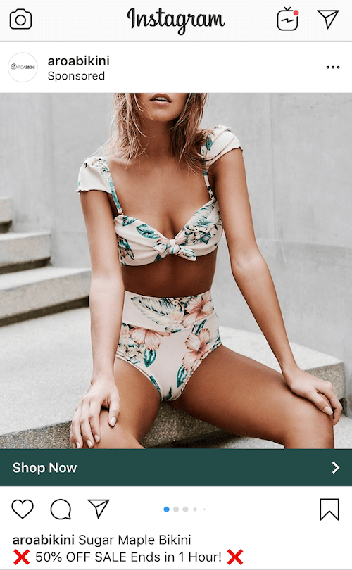 Aroa Bikini Instagram Advertisement Marketing