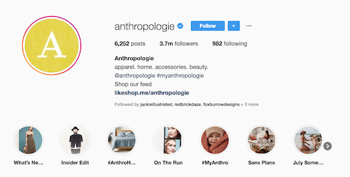 Anthropologie Instagram Highlight Covers